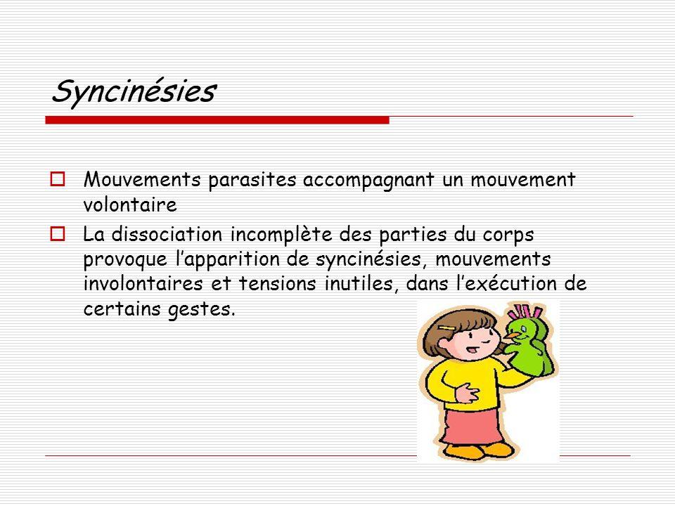 Syncinésies Mouvements parasites accompagnant un mouvement volontaire La dissociation incomplète des parties du corps provoque lapparition de syncinés