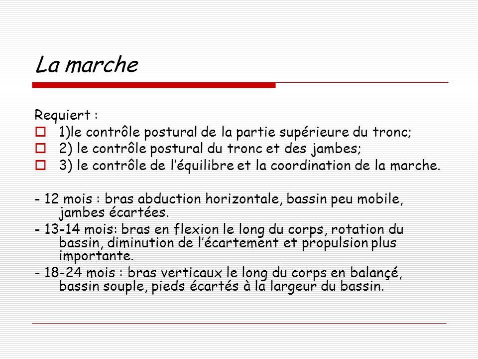La marche Requiert : 1)le contrôle postural de la partie supérieure du tronc; 2) le contrôle postural du tronc et des jambes; 3) le contrôle de léquilibre et la coordination de la marche.