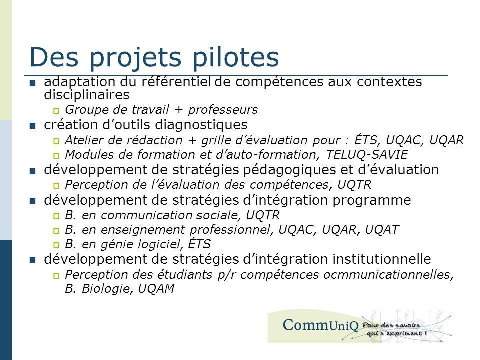 Des projets pilotes adaptation du référentiel de compétences aux contextes disciplinaires Groupe de travail + professeurs création doutils diagnostiqu
