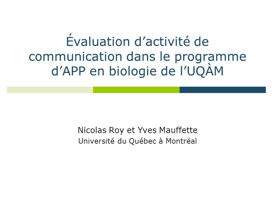 Évaluation dactivité de communication dans le programme dAPP en biologie de lUQÀM Nicolas Roy et Yves Mauffette Université du Québec à Montréal