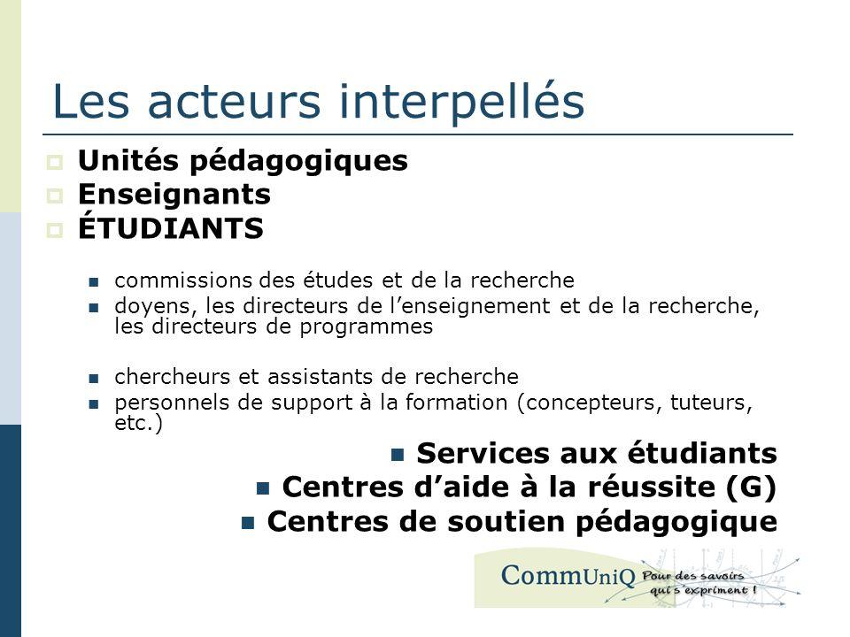 Les acteurs interpellés Unités pédagogiques Enseignants ÉTUDIANTS commissions des études et de la recherche doyens, les directeurs de lenseignement et