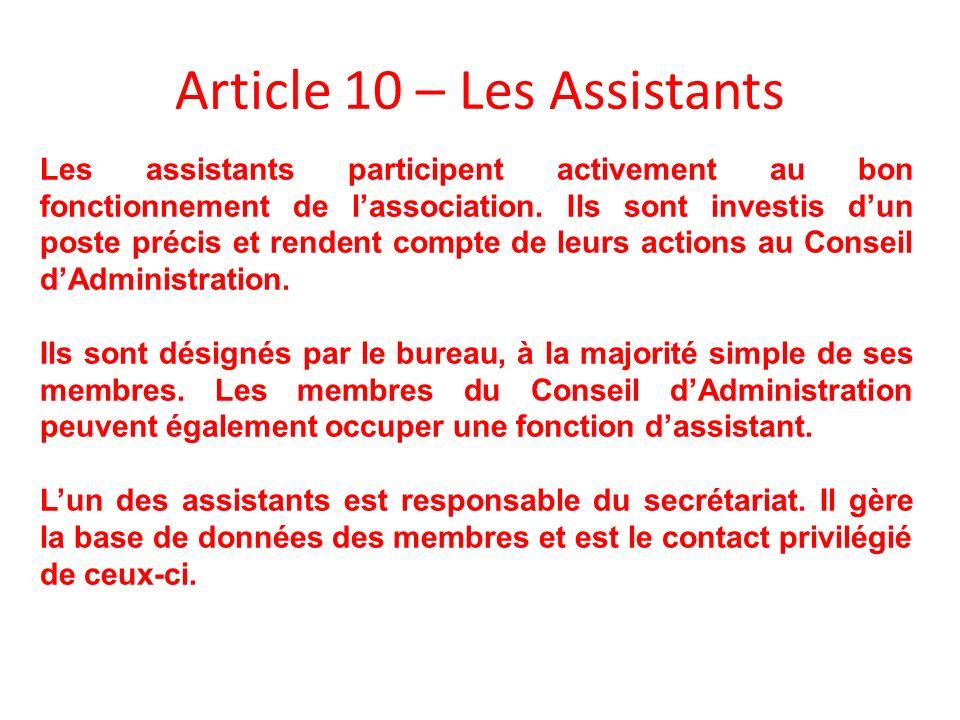 Article 10 – Les Assistants Les assistants participent activement au bon fonctionnement de lassociation. Ils sont investis dun poste précis et rendent