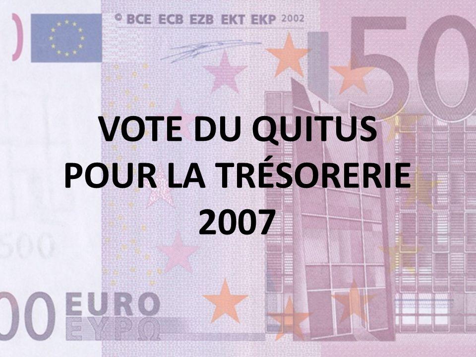 VOTE DU QUITUS POUR LA TRÉSORERIE 2007