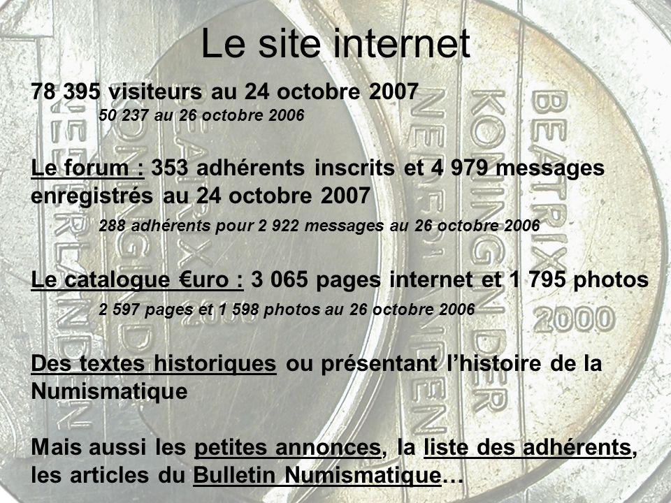 Le site internet 78 395 visiteurs au 24 octobre 2007 50 237 au 26 octobre 2006 Le forum : 353 adhérents inscrits et 4 979 messages enregistrés au 24 o