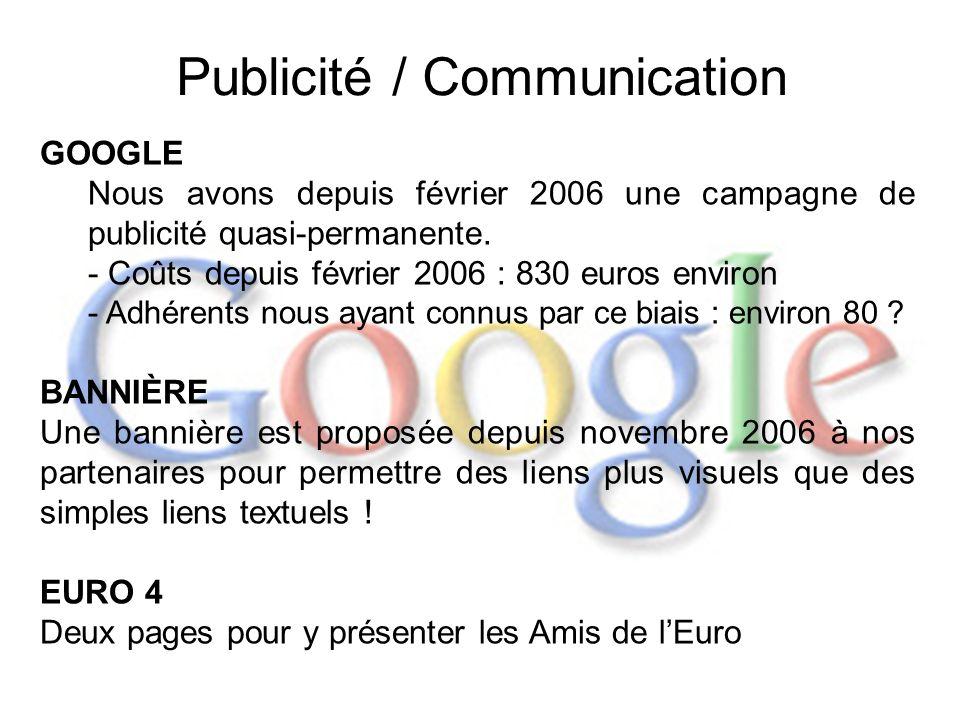 Publicité / Communication GOOGLE Nous avons depuis février 2006 une campagne de publicité quasi-permanente. - Coûts depuis février 2006 : 830 euros en