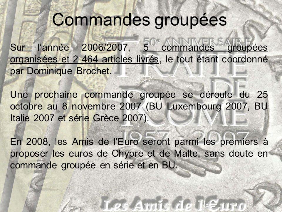 Commandes groupées Sur lannée 2006/2007, 5 commandes groupées organisées et 2 464 articles livrés, le tout étant coordonné par Dominique Brochet. Une