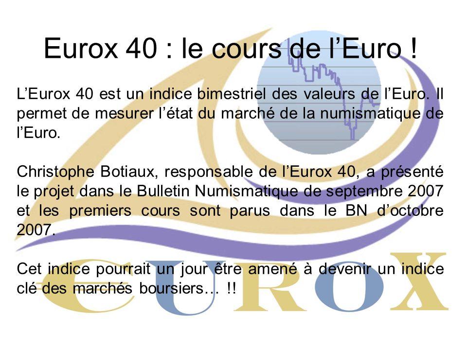 Eurox 40 : le cours de lEuro ! LEurox 40 est un indice bimestriel des valeurs de lEuro. Il permet de mesurer létat du marché de la numismatique de lEu