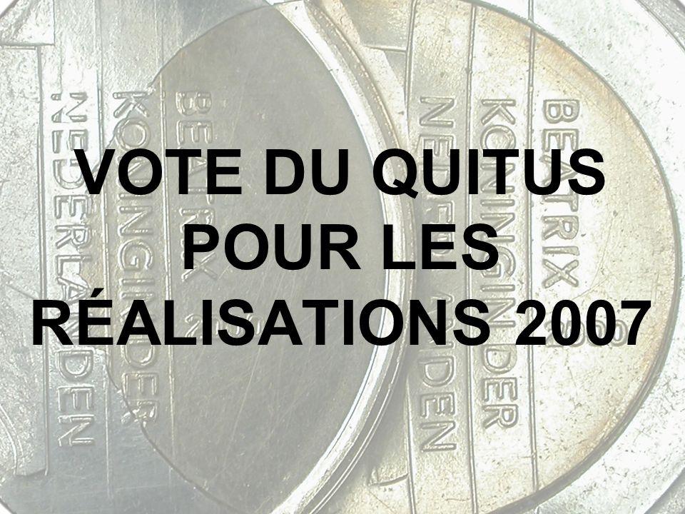 VOTE DU QUITUS POUR LES RÉALISATIONS 2007
