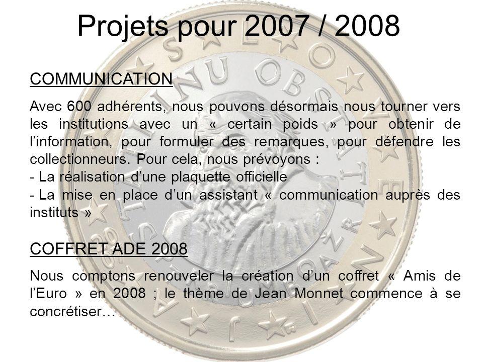 Projets pour 2007 / 2008 COMMUNICATION Avec 600 adhérents, nous pouvons désormais nous tourner vers les institutions avec un « certain poids » pour ob