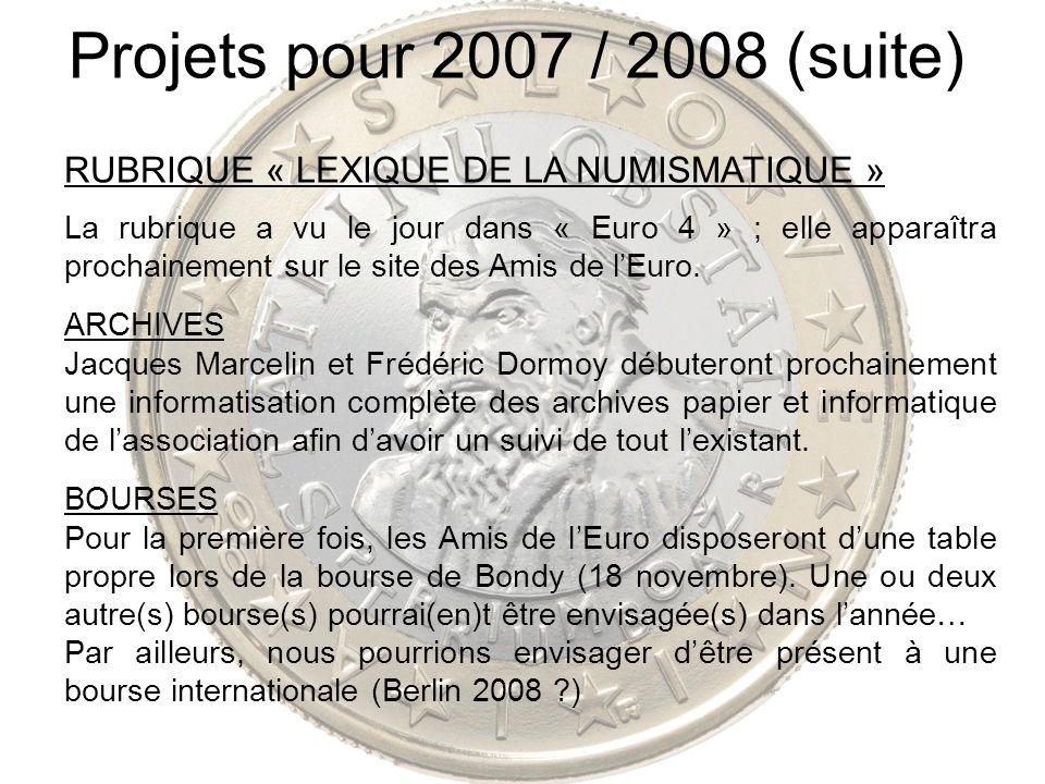 Projets pour 2007 / 2008 (suite) RUBRIQUE « LEXIQUE DE LA NUMISMATIQUE » La rubrique a vu le jour dans « Euro 4 » ; elle apparaîtra prochainement sur