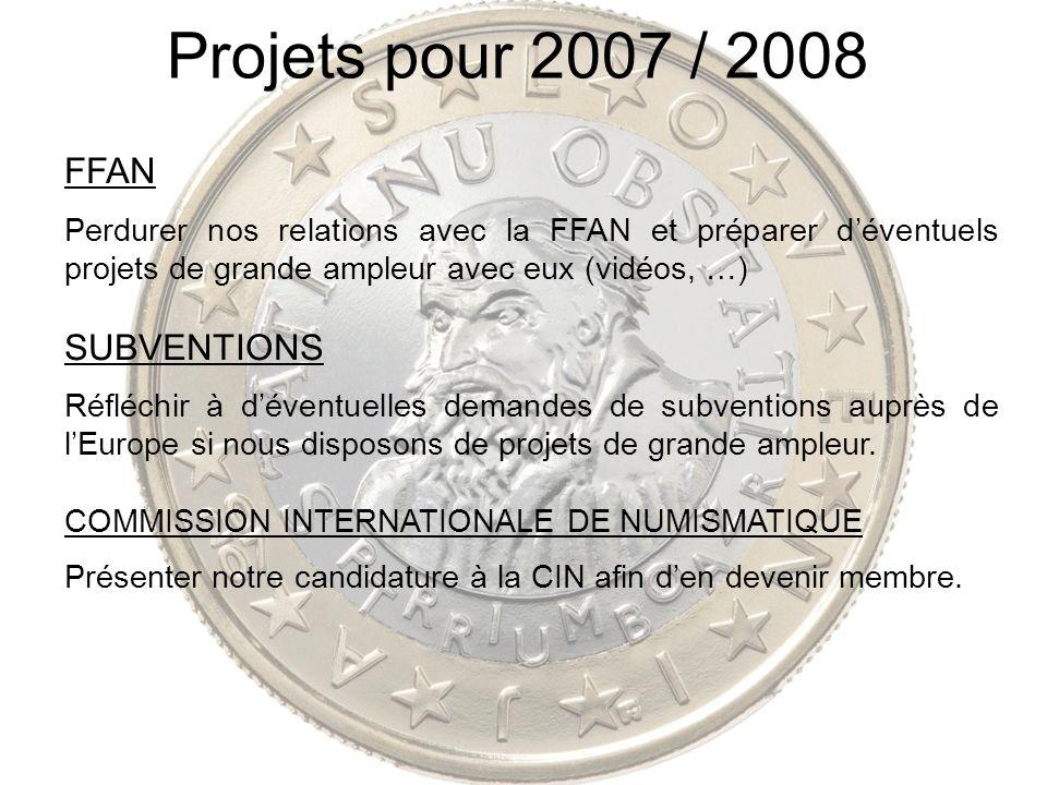 Projets pour 2007 / 2008 FFAN Perdurer nos relations avec la FFAN et préparer déventuels projets de grande ampleur avec eux (vidéos, …) SUBVENTIONS Ré
