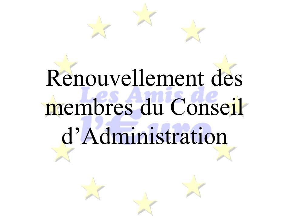 Renouvellement des membres du Conseil dAdministration