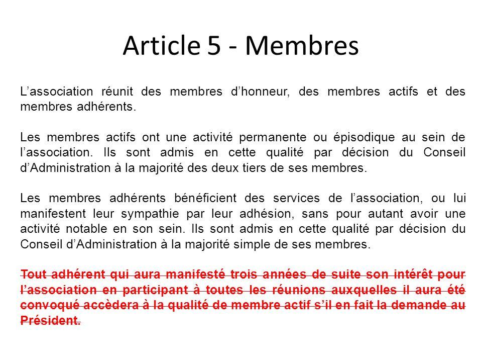Article 5 - Membres Lassociation réunit des membres dhonneur, des membres actifs et des membres adhérents. Les membres actifs ont une activité permane