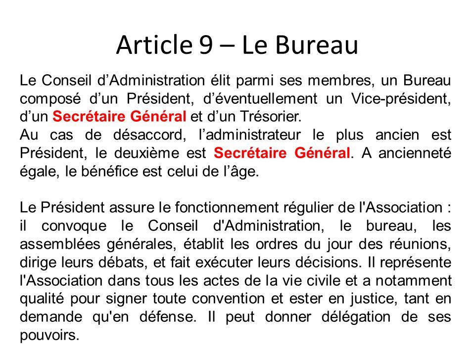 Article 9 – Le Bureau Le Conseil dAdministration élit parmi ses membres, un Bureau composé dun Président, déventuellement un Vice-président, dun Secré