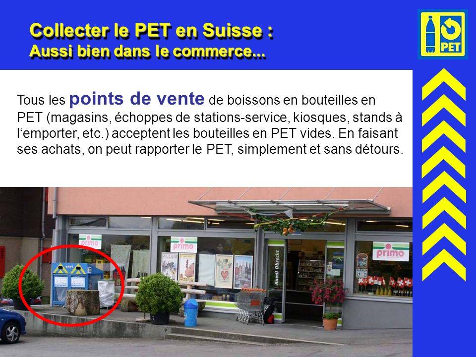 14 Collecter le PET en Suisse : Aussi bien dans le commerce... Tous les points de vente de boissons en bouteilles en PET (magasins, échoppes de statio