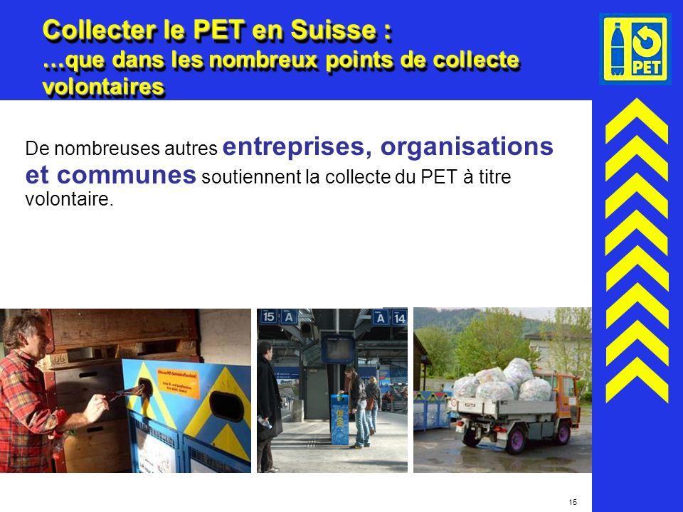 15 Collecter le PET en Suisse : …que dans les nombreux points de collecte volontaires De nombreuses autres entreprises, organisations et communes sout