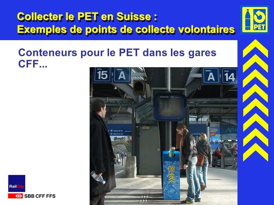 16 Collecter le PET en Suisse : Exemples de points de collecte volontaires Conteneurs pour le PET dans les gares CFF...