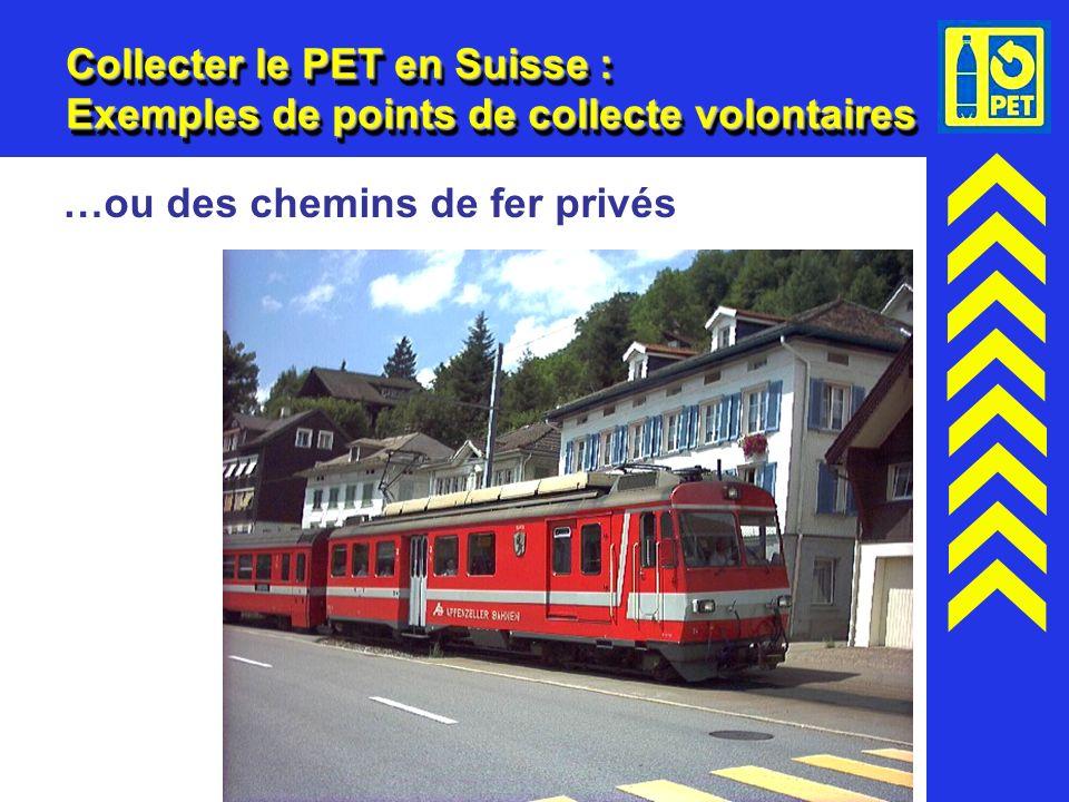 17 Collecter le PET en Suisse : Exemples de points de collecte volontaires …ou des chemins de fer privés