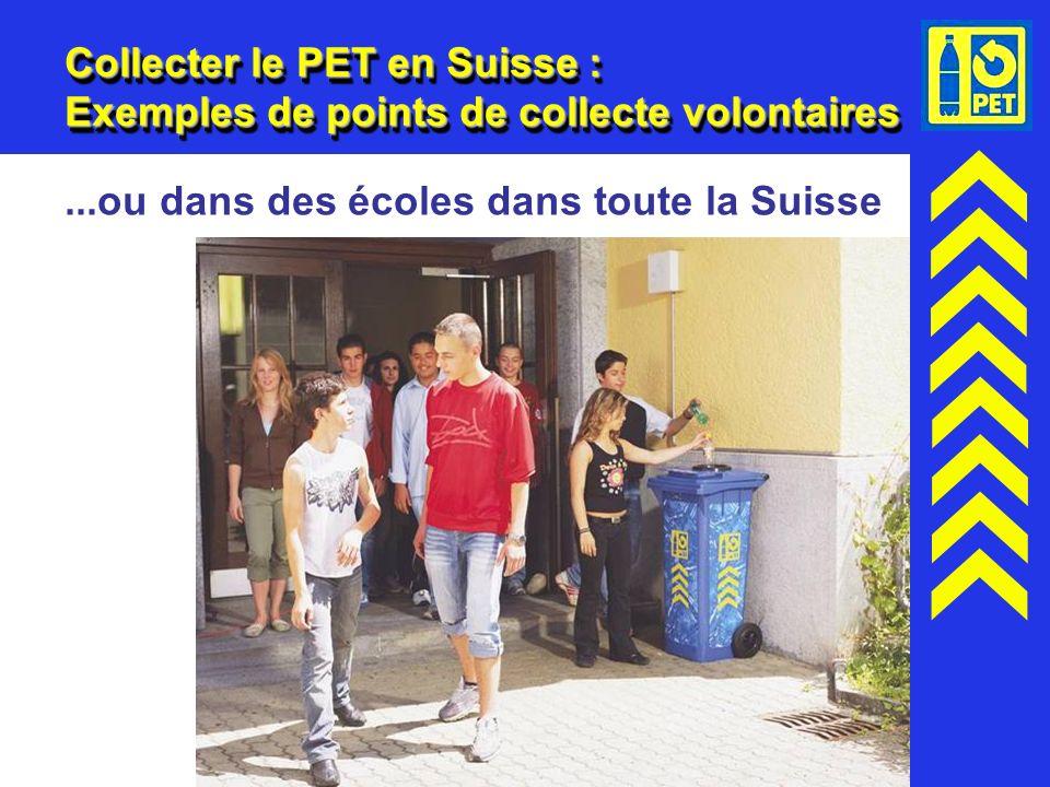18 Collecter le PET en Suisse : Exemples de points de collecte volontaires...ou dans des écoles dans toute la Suisse