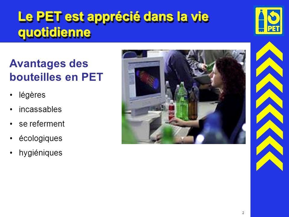 2 Le PET est apprécié dans la vie quotidienne Avantages des bouteilles en PET légères incassables se referment écologiques hygiéniques