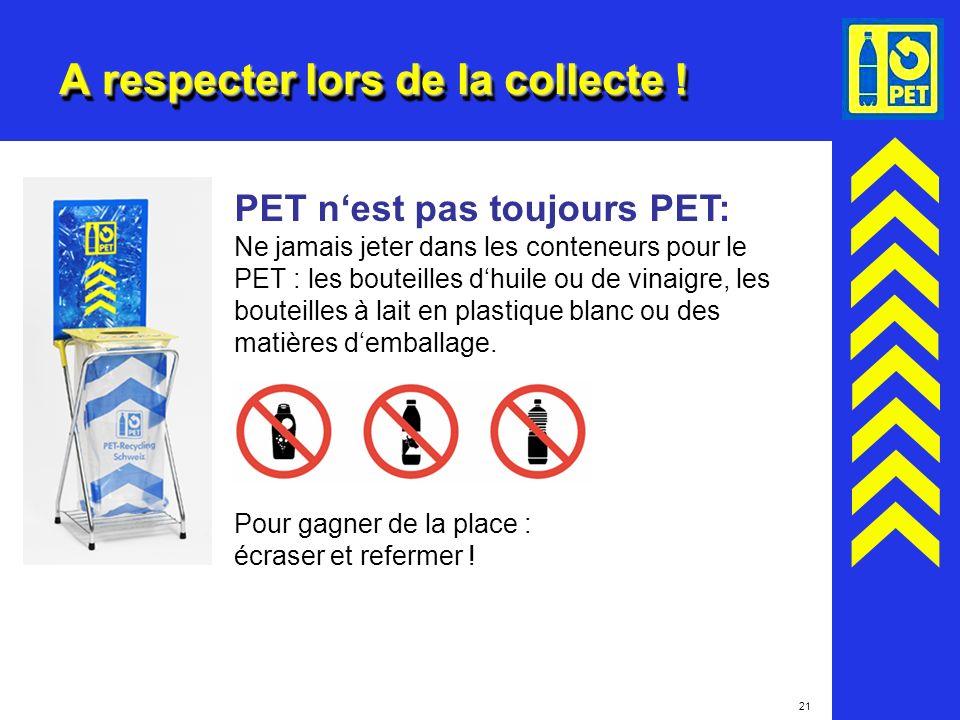 21 A respecter lors de la collecte ! PET nest pas toujours PET: Ne jamais jeter dans les conteneurs pour le PET : les bouteilles dhuile ou de vinaigre