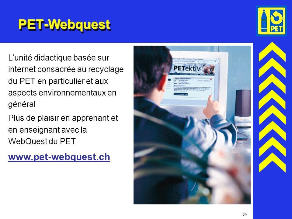 29 PET-WebquestPET-Webquest Lunité didactique basée sur internet consacrée au recyclage du PET en particulier et aux aspects environnementaux en génér