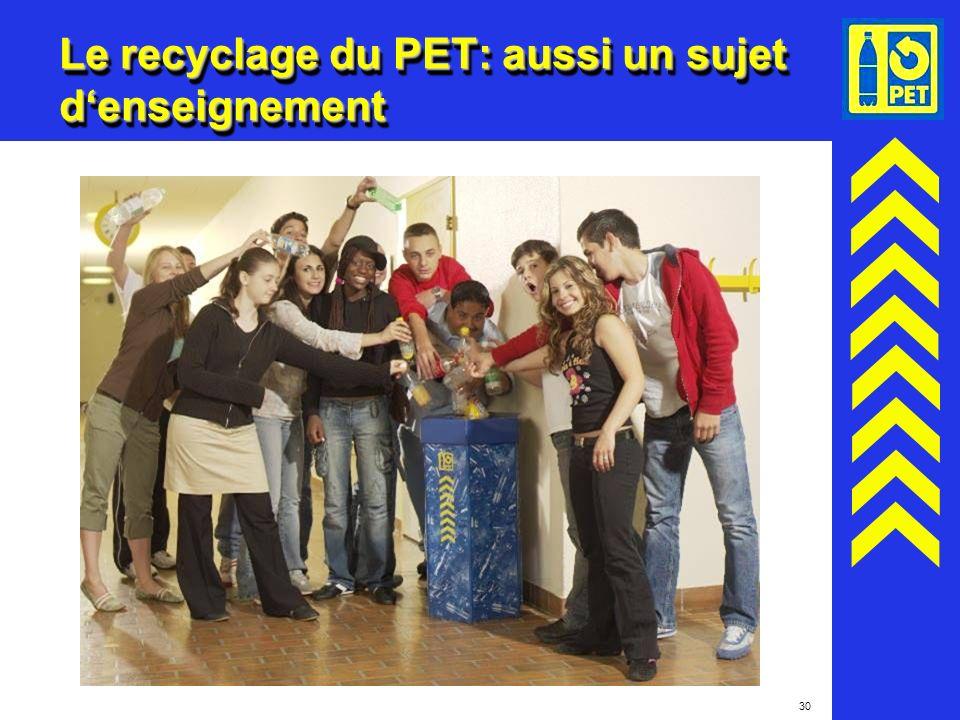 30 Le recyclage du PET: aussi un sujet denseignement