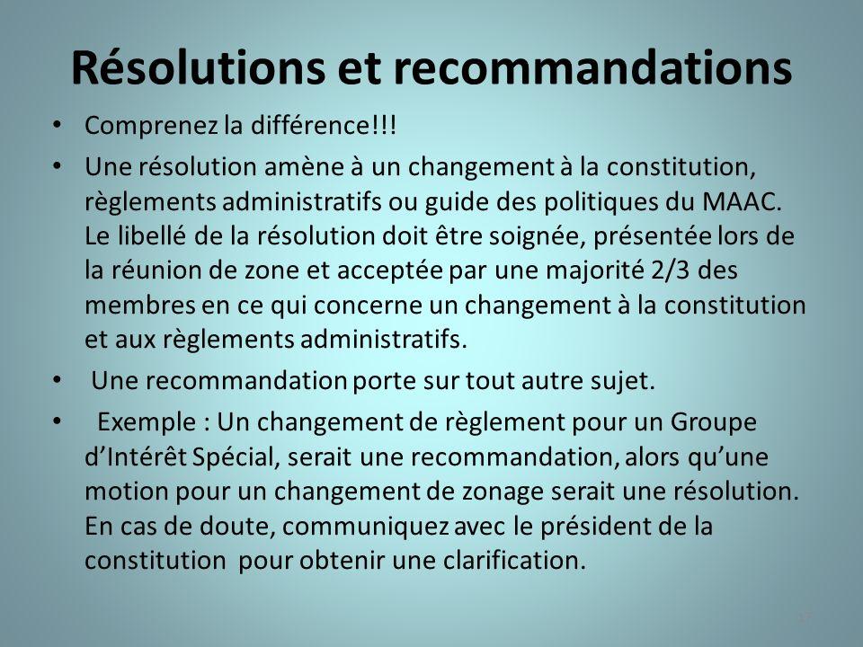 17 Résolutions et recommandations Comprenez la différence!!! Une résolution amène à un changement à la constitution, règlements administratifs ou guid