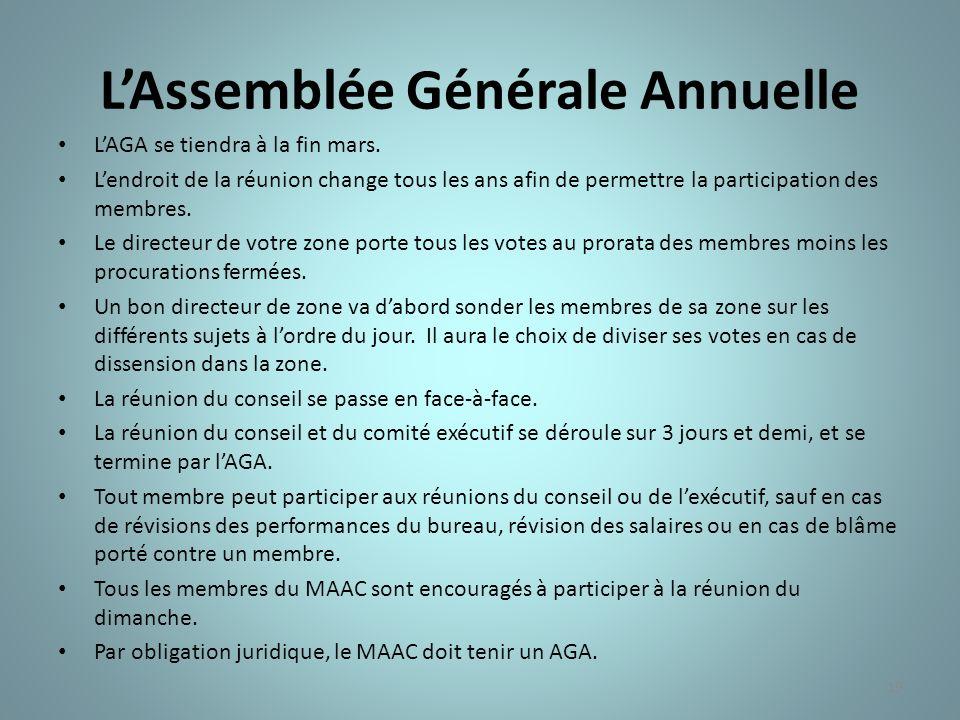 19 LAssemblée Générale Annuelle LAGA se tiendra à la fin mars. Lendroit de la réunion change tous les ans afin de permettre la participation des membr