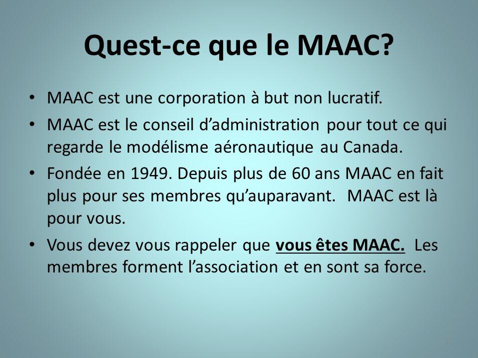 2 Quest-ce que le MAAC? MAAC est une corporation à but non lucratif. MAAC est le conseil dadministration pour tout ce qui regarde le modélisme aéronau