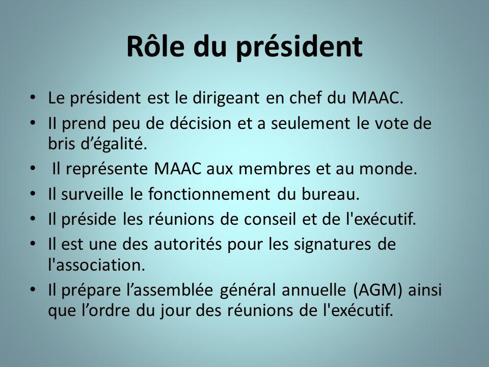 6 Rôle du président Le président est le dirigeant en chef du MAAC. II prend peu de décision et a seulement le vote de bris dégalité. Il représente MAA