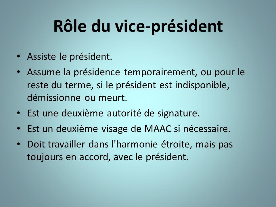 7 Rôle du vice-président Assiste le président. Assume la présidence temporairement, ou pour le reste du terme, si le président est indisponible, démis