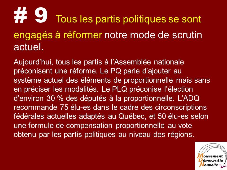 # 9 Tous les partis politiques se sont engagés à réformer notre mode de scrutin actuel.