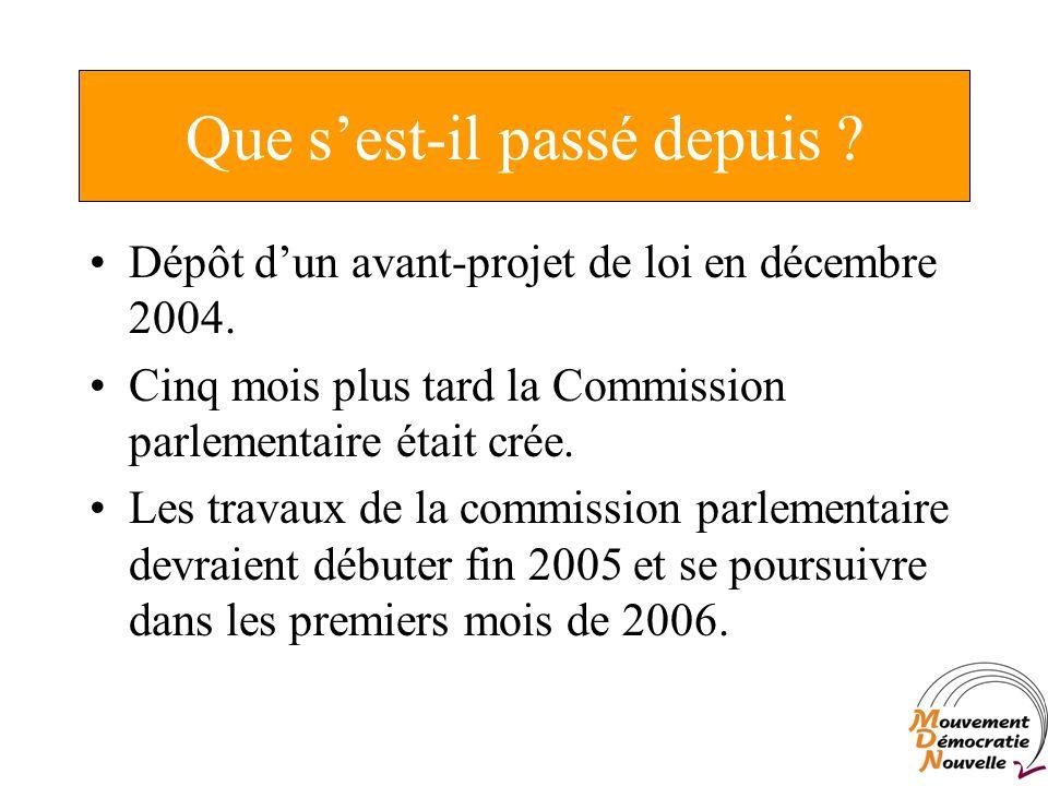 Que sest-il passé depuis . Dépôt dun avant-projet de loi en décembre 2004.