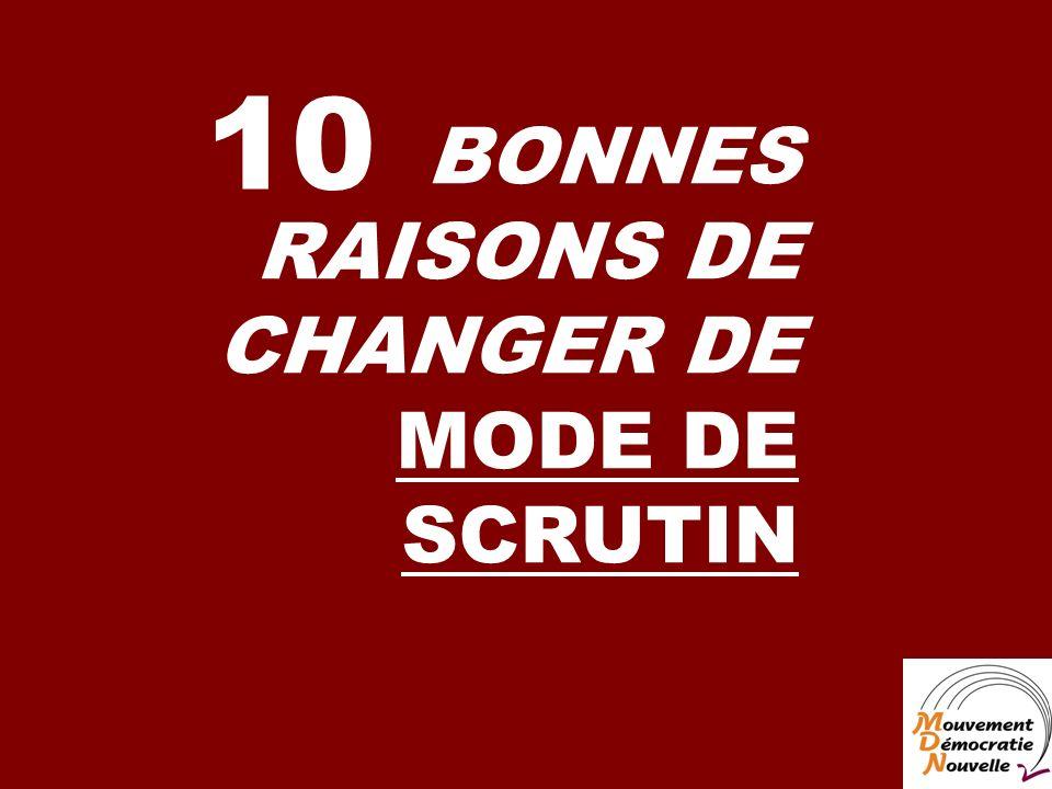 BONNES RAISONS DE CHANGER DE MODE DE SCRUTIN 10
