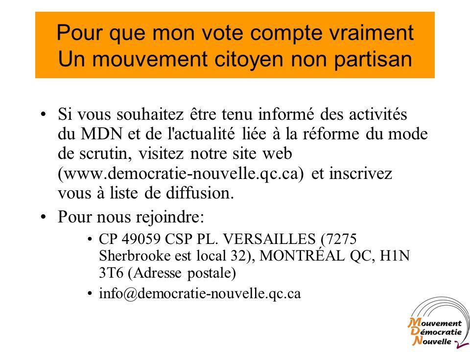 Pour que mon vote compte vraiment Un mouvement citoyen non partisan Si vous souhaitez être tenu informé des activités du MDN et de l actualité liée à la réforme du mode de scrutin, visitez notre site web (www.democratie-nouvelle.qc.ca) et inscrivez vous à liste de diffusion.