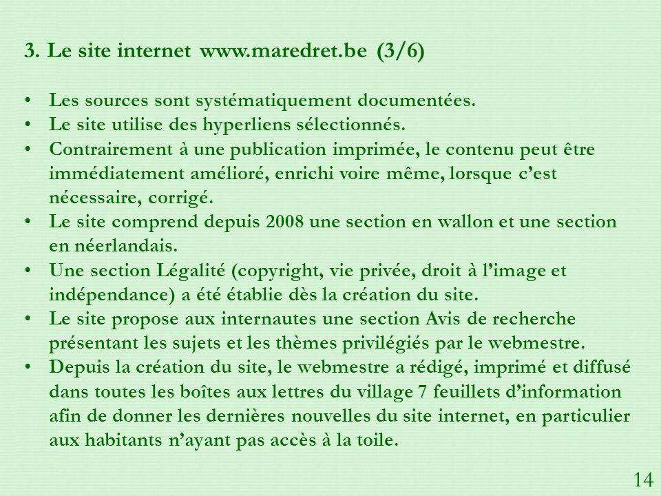 3.Le site internet www.maredret.be (3/6) Les sources sont systématiquement documentées.