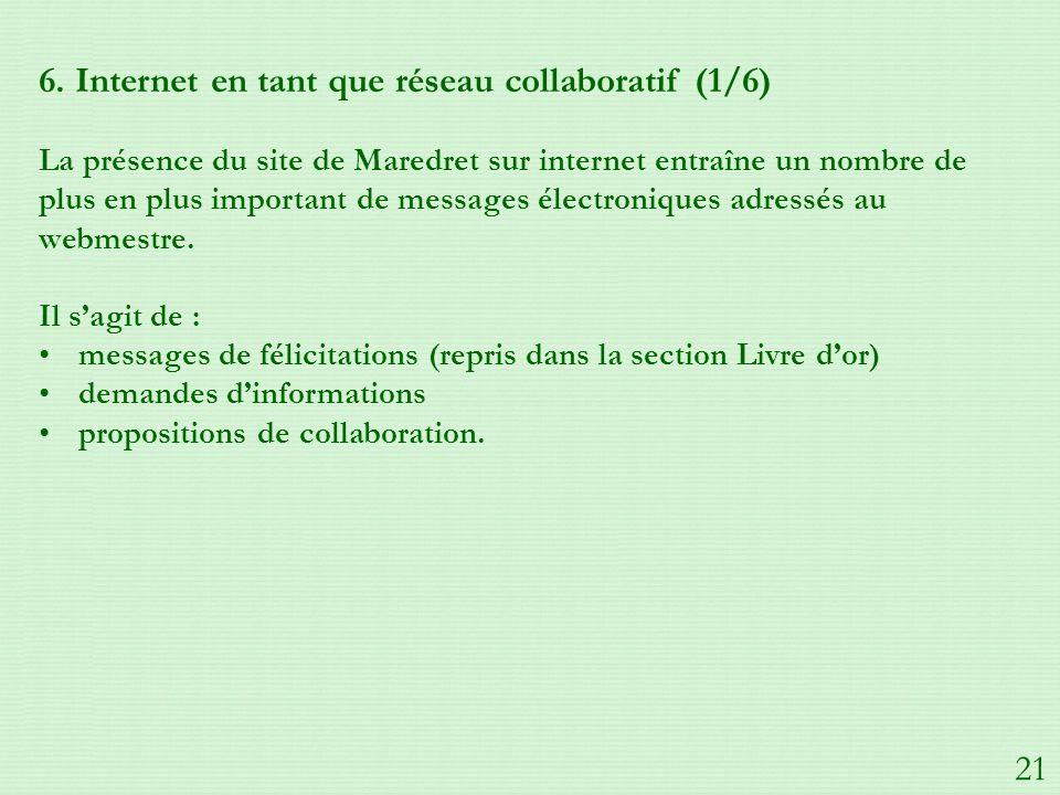 6. Internet en tant que réseau collaboratif (1/6) La présence du site de Maredret sur internet entraîne un nombre de plus en plus important de message