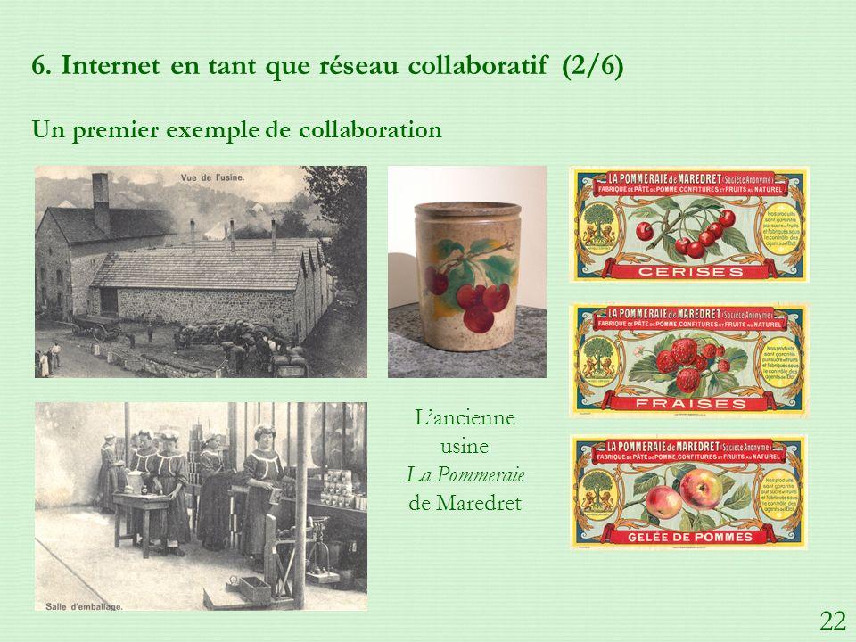 6. Internet en tant que réseau collaboratif (2/6) Un premier exemple de collaboration Lancienne usine La Pommeraie de Maredret 22