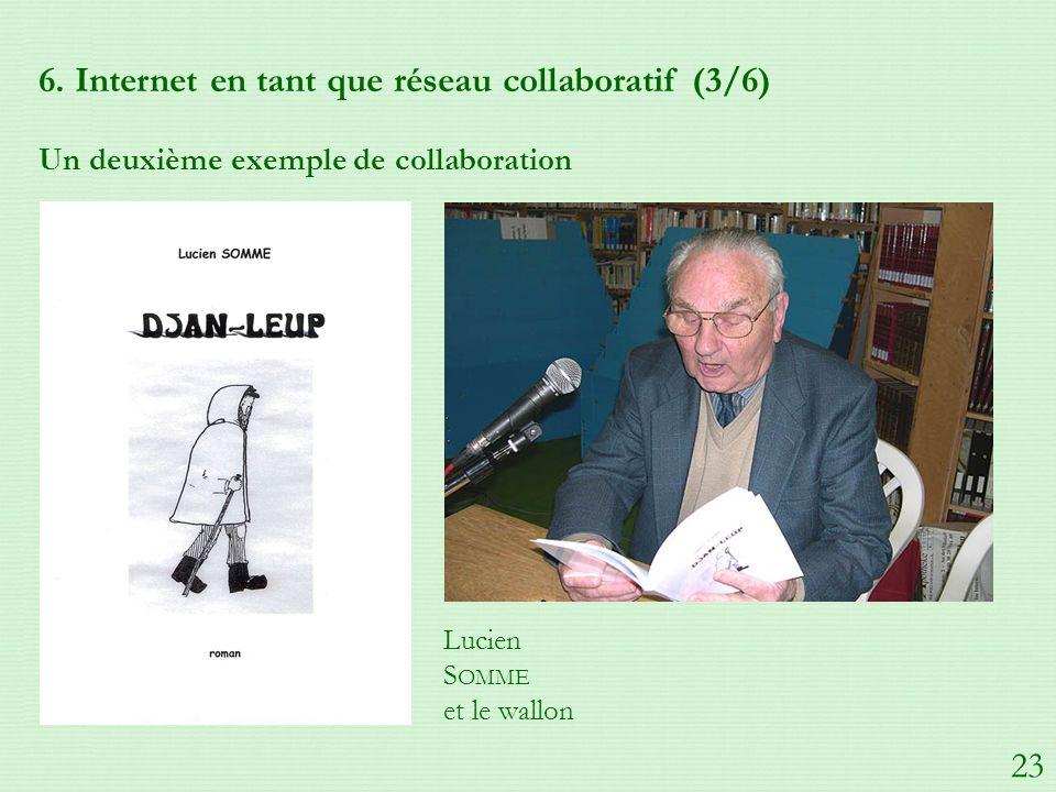 6. Internet en tant que réseau collaboratif (3/6) Un deuxième exemple de collaboration Lucien S OMME et le wallon 23