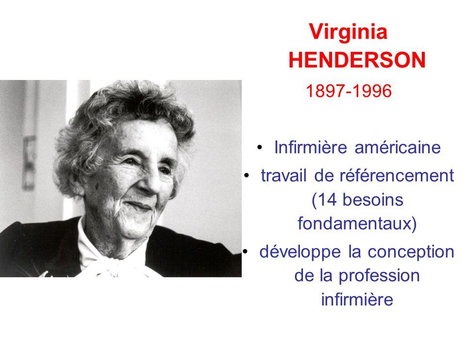 Virginia HENDERSON 1897-1996 Infirmière américaine travail de référencement (14 besoins fondamentaux) développe la conception de la profession infirmi