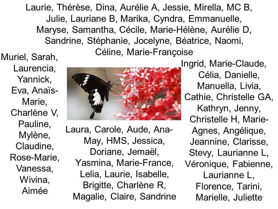 Laurie, Thérèse, Dina, Aurélie A, Jessie, Mirella, MC B, Julie, Lauriane B, Marika, Cyndra, Emmanuelle, Maryse, Samantha, Cécile, Marie-Hélène, Auréli