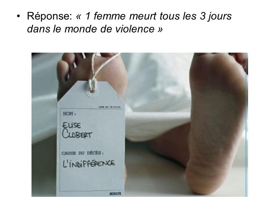 Réponse: « 1 femme meurt tous les 3 jours dans le monde de violence »