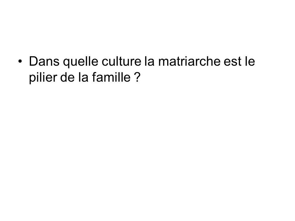 Dans quelle culture la matriarche est le pilier de la famille ?