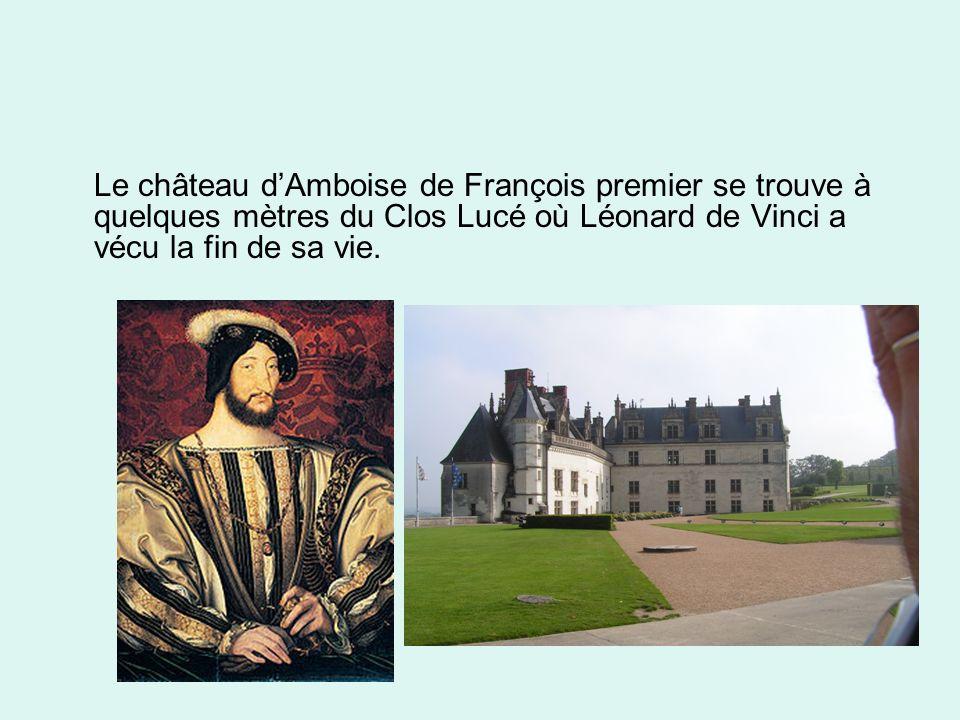 Le château dAmboise de François premier se trouve à quelques mètres du Clos Lucé où Léonard de Vinci a vécu la fin de sa vie.