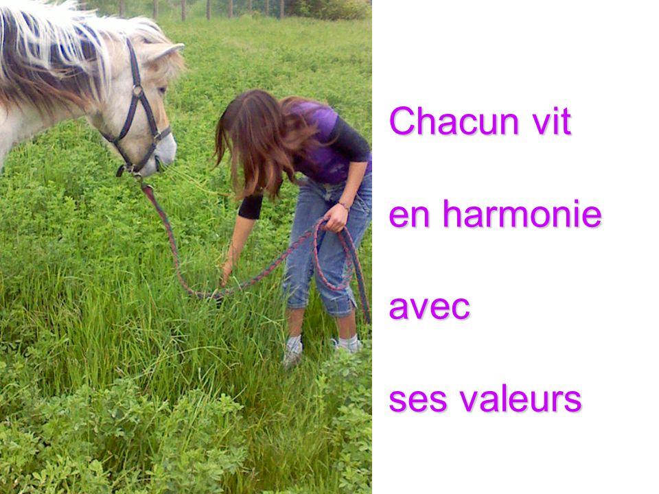 Chacun vit en harmonie avec ses valeurs