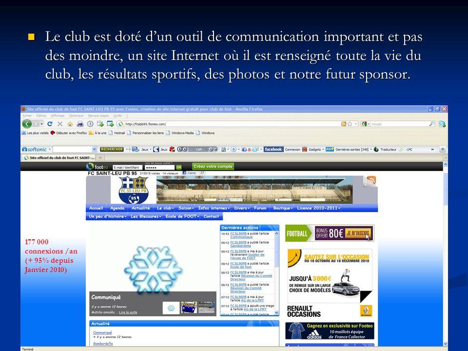 Le club est doté dun outil de communication important et pas des moindre, un site Internet où il est renseigné toute la vie du club, les résultats sportifs, des photos et notre futur sponsor.