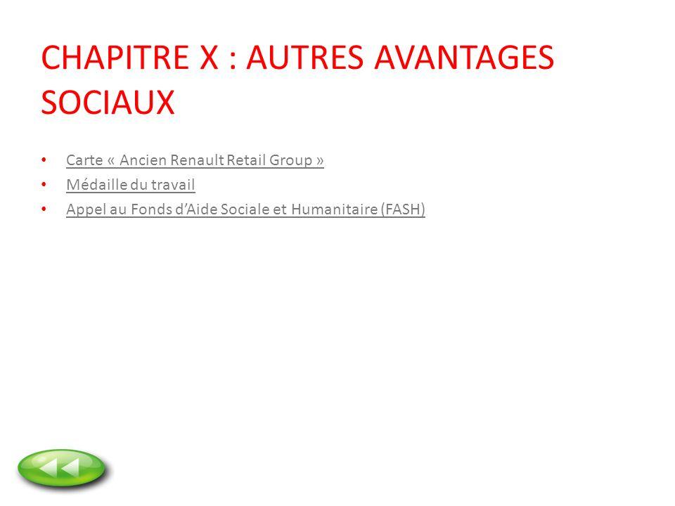 CHAPITRE X : AUTRES AVANTAGES SOCIAUX Carte « Ancien Renault Retail Group » Médaille du travail Appel au Fonds dAide Sociale et Humanitaire (FASH)