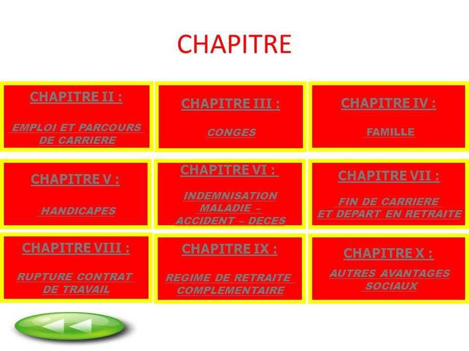 CHAPITRE CHAPITRE VII : FIN DE CARRIERE ET DEPART EN RETRAITE CHAPITRE II : EMPLOI ET PARCOURS DE CARRIERE CHAPITRE III : CONGES CHAPITRE IV : FAMILLE