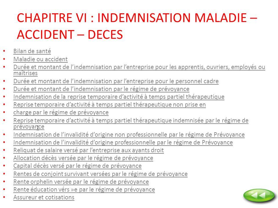CHAPITRE VI : INDEMNISATION MALADIE – ACCIDENT – DECES Bilan de santé Maladie ou accident Durée et montant de lindemnisation par lentreprise pour les